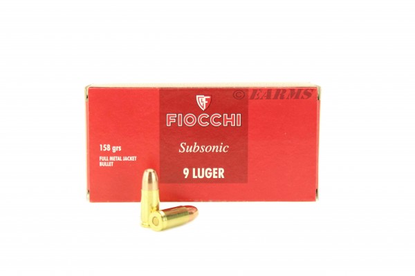 FIOCCHI 9mm Luger Subsonic FMJ 158grs. 50Stk/Pkg
