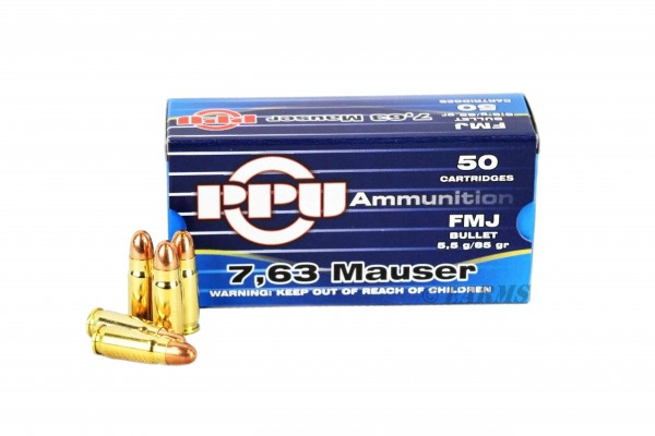PPU 7,63 Mauser 85grs FMJ 50 Stk/Pkg