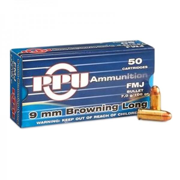 PPU 9mm Browning Long 108grs FMJ 50 Stk/Pkg