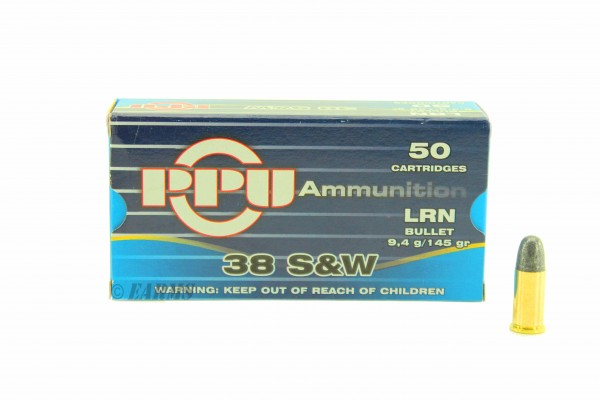 PPU .38 S&W 145grs LRN 50 Stk/Pkg