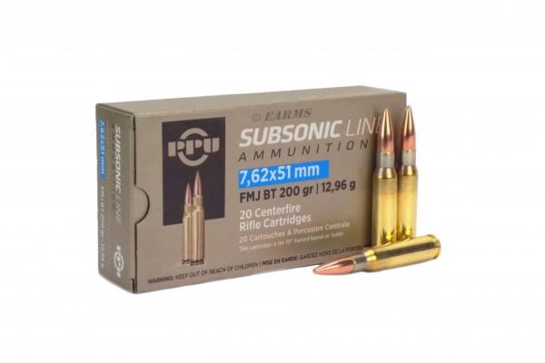 PPU .308 WIN / 7,62x51 SUBSONIC FMJ BT 200grs 20 Stk/Pkg