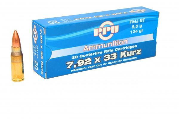 PPU 7,92x33 kurz 124grs FMJ 20 Stk/Pkg
