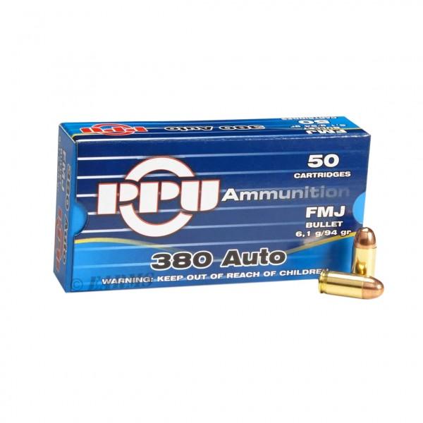 PPU .380 Auto 94grs. FMJ 50 Stk/Pkg