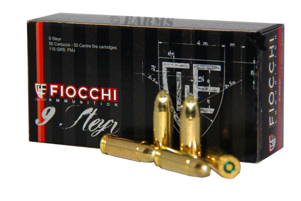 FIOCCHI 9mm Steyr 7,45gr/115grs FMJ 50 Stk/Pkg