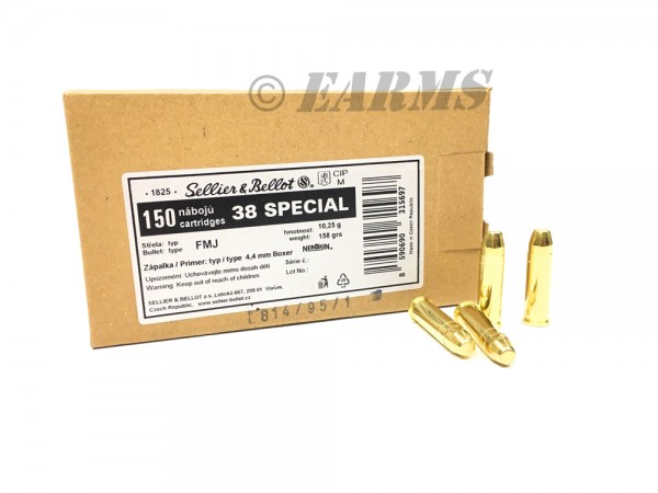 S&B .38 Special FMJ 158grs. 150 Stk/Pkg
