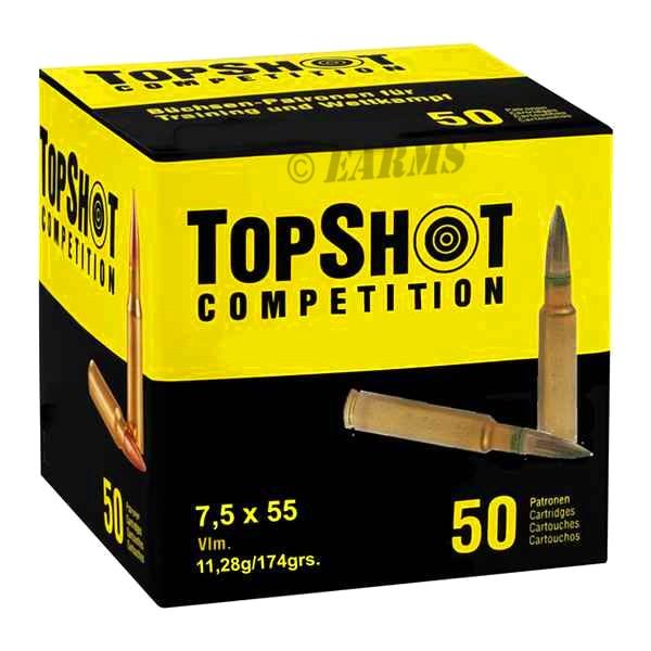 TOPSHOT 7,5x55 SWISS FMJ BT 174grs 50 Stk/Pkg