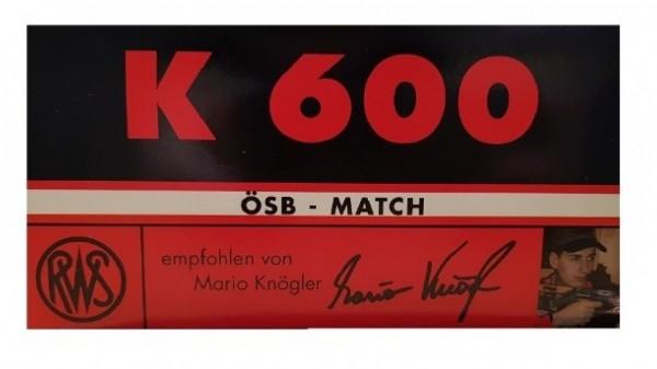 RWS .22lr ÖSB MATCH K600 40 grs. 50 Stk/Pkg