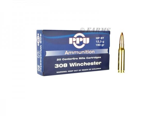 PPU .308 WIN 190grs HPBT 20 Stk/Pkg