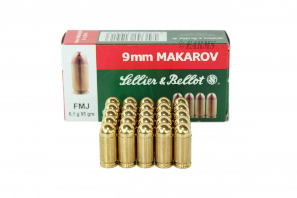 S&B 9mm Makarov FMJ 95grs 50 Stk/Pkg
