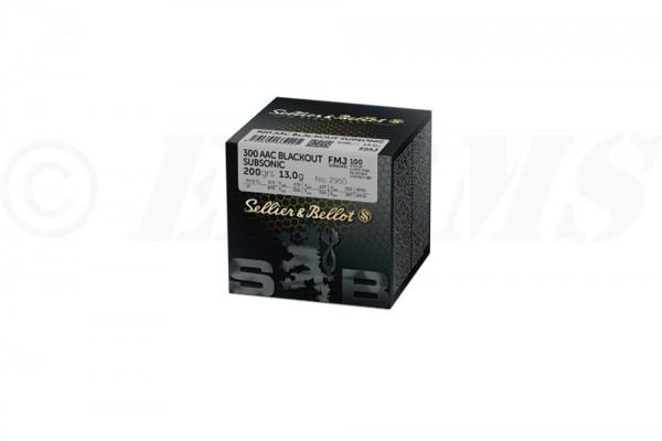 S&B .300 AAC BLACKOUT Subsonic FMJ 200grs 100 Stk/Pkg