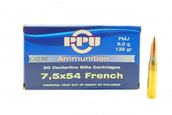 PPU 7,5x54 French 139grs FMJ 20 Stk/Pkg