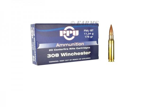 PPU .308 WIN 175grs FMJ BT 20 Stk/Pkg