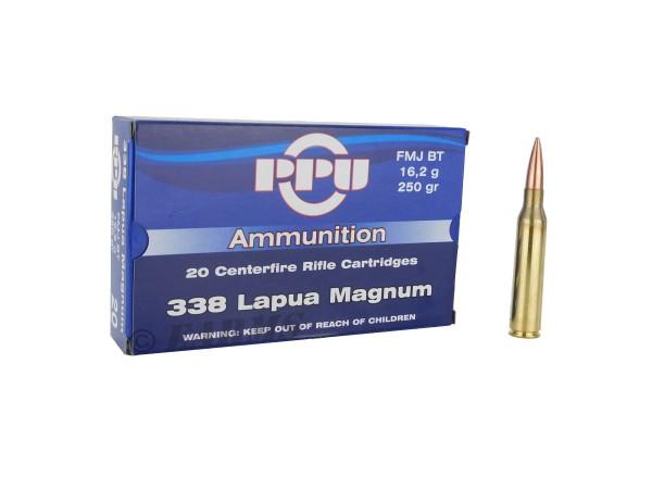 PPU .338 Lapua Magnum 250grs FMJ-BT 20 Stk/Pkg