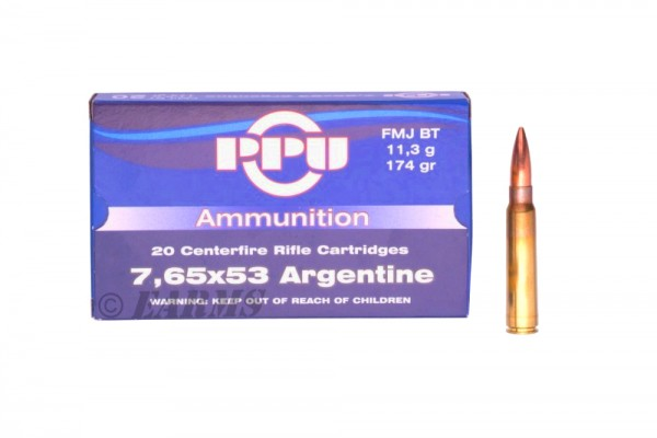 PPU 7,65×53 Argentine FMJ-BT 174grs 20 Stk/Pkg