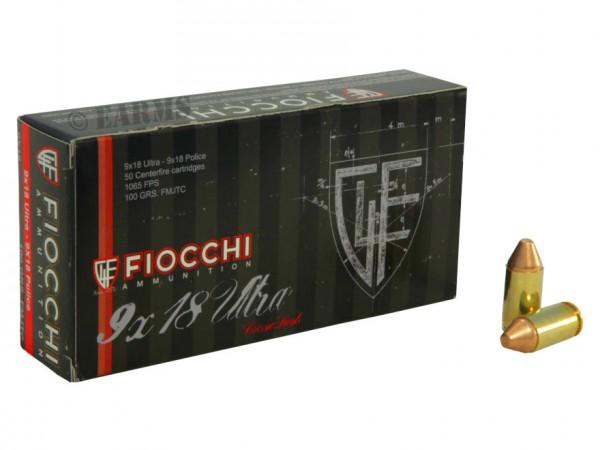 FIOCCHI 9X18 Police / 9X18 Ultra 100grs FMJTC 50 Stk/Pkg